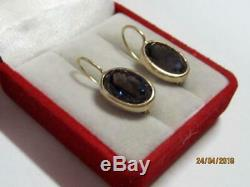 Old Vintage Russian USSR Gilt Sterling Silver 875 Earrings Natural Alexandrite