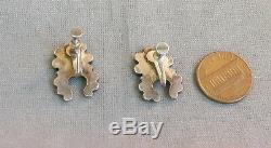 Old Vintage Zuni Sterling Silver Turquoise Inlay Earrings Screw Back Findings
