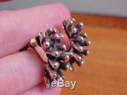 Organic Nubs Earrings, Sterling Silver, Vintage Modernist American Studio