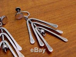 Pivoting Hammered Arcs Earrings, Sterling Silver, Vintage American Studio