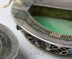 Pair Vintage Chinese Export Sterling Silver Enameled Carved Green Jade Earrings