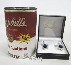 Pair of Vintage Italian Sterling Silver Pear Cut Genuine Sapphire Earrings yqz
