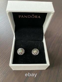Pandora 290542SSG Vintage Allure Stud Earrings 925 Sterling Silver Green Spinel