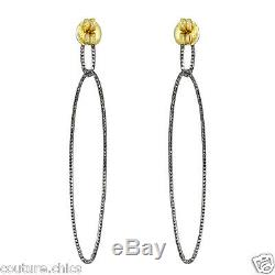 Pave Diamond 925 Sterling Silver Dangle Earrings 14 K Gold Vintage Style Jewelry
