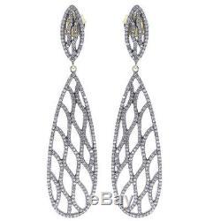Pave Diamond 925 Sterling Silver Earrings Designer Vintage Look Filigree Jewelry
