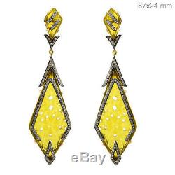 Pave Diamond Onyx Carving 14K Gold Earrings Sterling Silver Vintage Look Jewelry