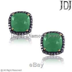 Pave Diamond Sterling Silver Emerald Gemstone Vintage Look Stud Earrings Jewelry