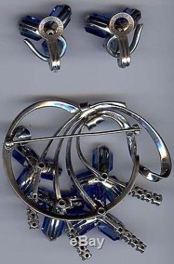 Pennino Vintage Sterling Silver Blue Glass And Rhinestone Pin & Earrings Set