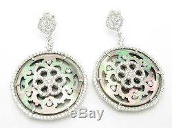 Platinum Sterling Silver Diamond Set Mother of Pearl Vintage Chandelier Earrings