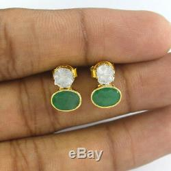 Polki Diamond Emerald Stud Earrings 925 Sterling Silver Vintage Jewelry VE335