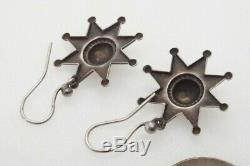 Pretty Little Antique English Sterling Silver Star Earrings