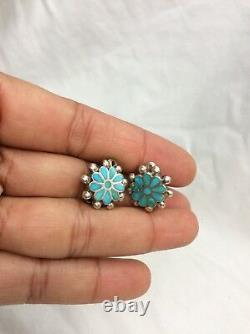 Pretty vintage Native American Zuni dishta sterling 925 turquoise Clip Earrings