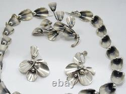 RARE VINTAGE Niels Eric N. E. FROM DENMARK STERLING NECKLACE EARRINGS BROOCH SET