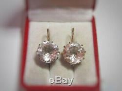 RARE Vintage Natural Rock Crystal Earrings USSR Russian Sterling Silver 875 Gilt
