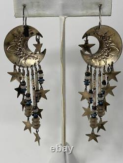 RARE Vintage Signed TABRA STERLING SILVER MOON & STAR Long Dangle EARRINGS