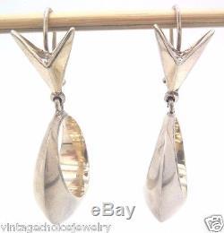 RARE Vintage Sterling ANTONIO PIÑEDA Mid Century Modern Hoop Earrings SIGNED
