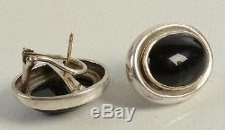 RARE Vintage Tiffany & Co Sterling Silver Onyx Paloma Picasso Earrings Authentic