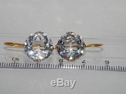 Rare URAL Natural Rock Crystal Vintage Soviet Gilt Sterling Silver 875 Earrings