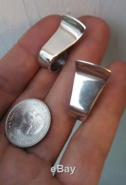 Rare Vintage DAVID ANDERSEN Norway Solid Sterling Silver Modernist Earrings