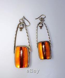 Rare Vintage Deco Baltic Amber Sterling Dangle Pendant Earrings