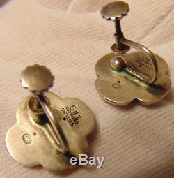 Rare Vintage Georg Jensen 109 Denmark Sterling Silver Green Agate Earrings