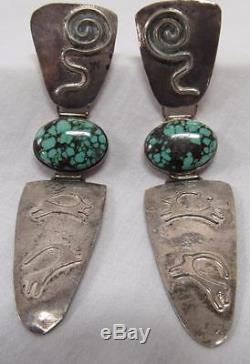 Rare Vintage High Grade Damele Turquoise & Sterling Silver Earrings