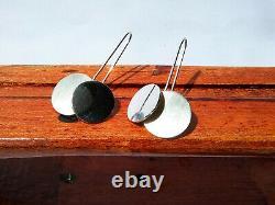 Rare Vintage MCM Signed Betty Cooke Sterling Silver Kinetic Modernist Earrings