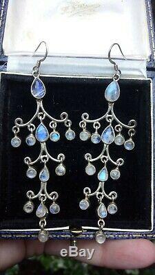 Rare Vintage Rainbow Moonstone & Solid Sterling Silver Chandelier Drop Earrings