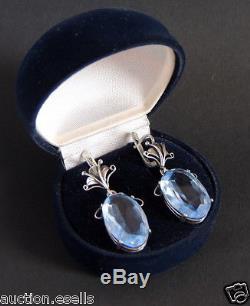 Rare Vintage Russian Art Deco Sterling Silver 925 Womens Blue Quartz Earrings
