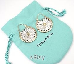 Rare Vintage Tiffany & Co Sterling Silver 18K Gold Large Daisy Flower Earrings