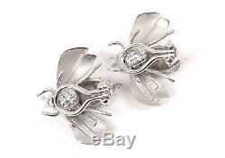 Rare Vintage Tiffany & Co Sterling Silver LARGE Bumble Bee Earrings withpouch