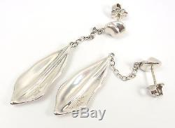 Rare Vintage Tiffany & Co Sterling Silver Nature Leaf Drop Dangle Earrings