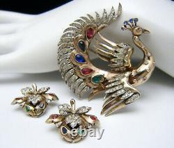 Rare Vintage Trifari Sterling Rhinestone Bird of Paradise Fur Clip Earrings Set