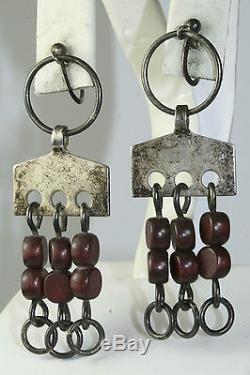 Rare Vtg Norway Plus Shop Anna Greta Eker Age Sterling Silver Wood Earrings
