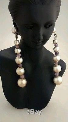 Rare massive runway statement vintage Taxco sterling balls amethyst earrings