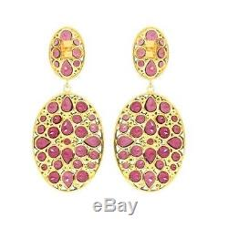 Rhodolite Gemstone Dangle Earrings Diamond Sterling Silver Vintage Style Jewelry