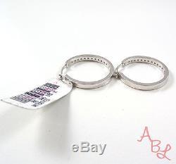 SB Sterling Silver Vintage 925 Polished Hoop 1/2ct Diamond Earrings 5.7g 526034