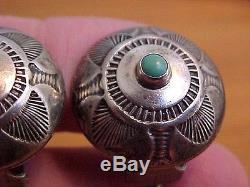 Snake Stampwork Earrings, Navajo, Sterling Silver & Turquoise, Vintage