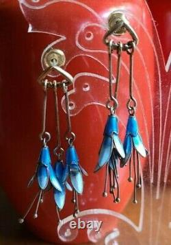 STERLING Blue Bell Flower Dangle SILVER ENAMEL EARRINGS Vintage DENMARK