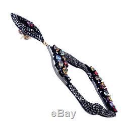 Sapphire Diamond Pave Sterling Silver14k Gold Vintage Dangle Earrings Jewelry
