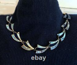 Set Vintage Sterling Mexico Necklace & Earrings Art Deco Design