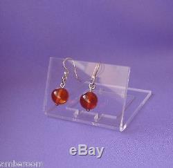 Set of 20pair Vintage Earrings Drop, Cognac Baltic Amber, Sterling Silver 925 22k