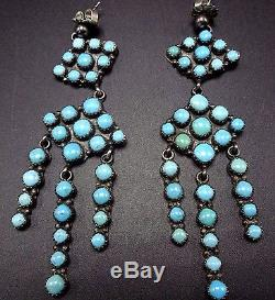 Signed EMMA LINCOLN Vintage NAVAJO Sterling Silver & TURQUOISE Cluster EARRINGS