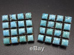 Signed Vintage FEDERICO JIMENEZ Sterling Silver TURQUOISE Cluster EARRINGS Clip
