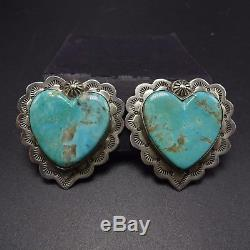 Signed Vintage KEWA Hand Stamped Sterling Silver & TURQUOISE Heart EARRINGS Clip