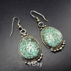 Signed Vintage NAVAJO Sterling Silver & #8 TURQUOISE EARRINGS Spiderweb Matrix