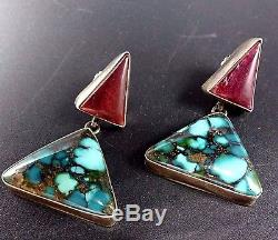 Signed Vintage NAVAJO Sterling Silver PURPLE SHELL Spiderweb TURQUOISE EARRINGS