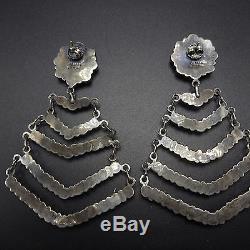 Signed Vintage NAVAJO Sterling Silver & TURQUOISE Cluster Chandelier EARRINGS