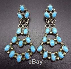 Signed Vintage NAVAJO Sterling Silver & TURQUOISE Cluster Dangle EARRINGS