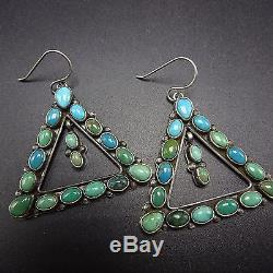 Signed Vintage NAVAJO Sterling Silver & TURQUOISE Cluster EARRINGS Triangles